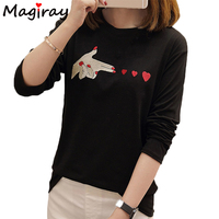 Magiray 2017 Harajuku Fire Love Heart Embroidery T Shirt Women Tops Funny T Shirts Loose Cute