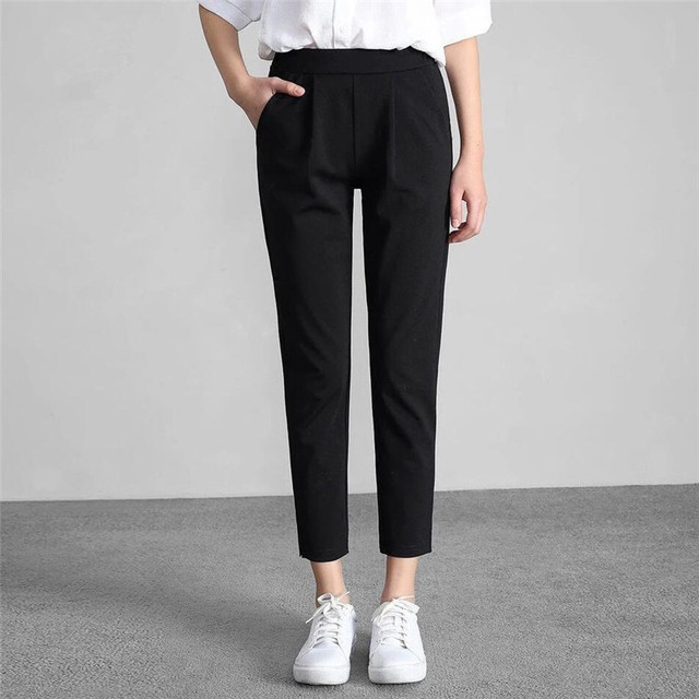 9beed83565b3a Aliexpress.com : Buy Korean Style Women's Pants Elastic High Waist Black OL  Office Work Lady Slim Feet Trousers Female Pencil Pant Plus Size 6XL 7XL ...