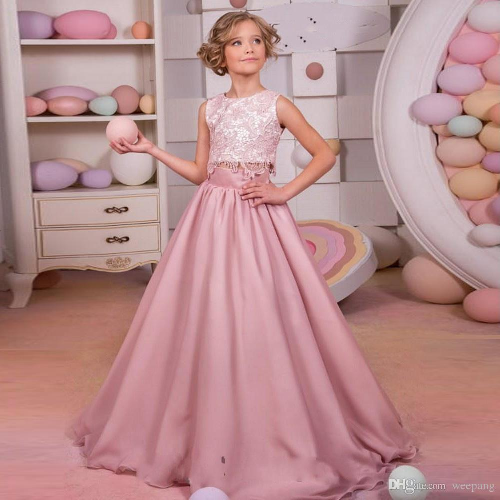 Dresses For Flower Girls For Weddings: 2017 Sweet Dusty Pink Lace Flower Girls Dress For Weddings