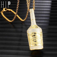 Hip Hop Iced Out Bling Champagne Bottle Rhinestone Rope Chain Gold Color Pendants & Necklaces For Men Jewelry Dropshipping