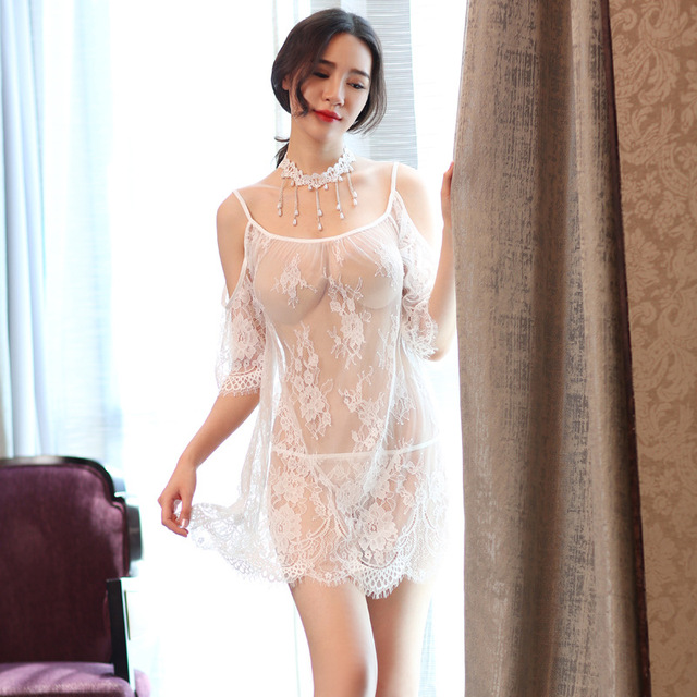 Yhotmeng2019 new mesh transparent sexy sling five-point sleeves flowers sexy lace pajamas nightdress set black and white 3
