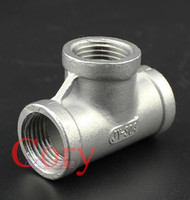 1PCS Stainless Steel SS 304 2 Tee 3 way Female x Female x Femal Threaded Pipe Fitting 103mm Length