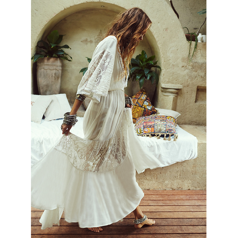 Ordifree 2020 Summer Boho Women Maxi Dress Half Sleeve Slightly Transparent Loose Sexy White Lace Long Tunic Beach Dress