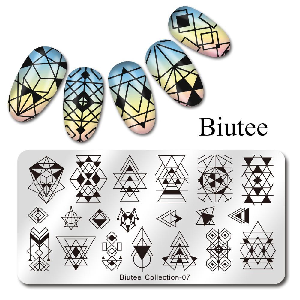 Image 2 - Biutee Nail Stamping Plates Stamper Scraper Nail Template Flowers Geometric Patterns DIY Nail Designs Manicure Stamp Plate-in Nail Art Templates from Beauty & Health