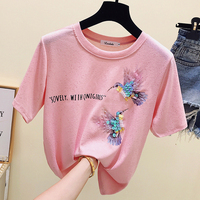 Sequined t shirt women tshirt camisetas mujer verano 2018 summer top tee shirt femme plus size t shirt women funny t shirts