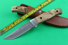 Small Shadow Straight Fixed Blade Knife High Quality Damascus Steel Hunting EDC Camping Knife Free shipping!!