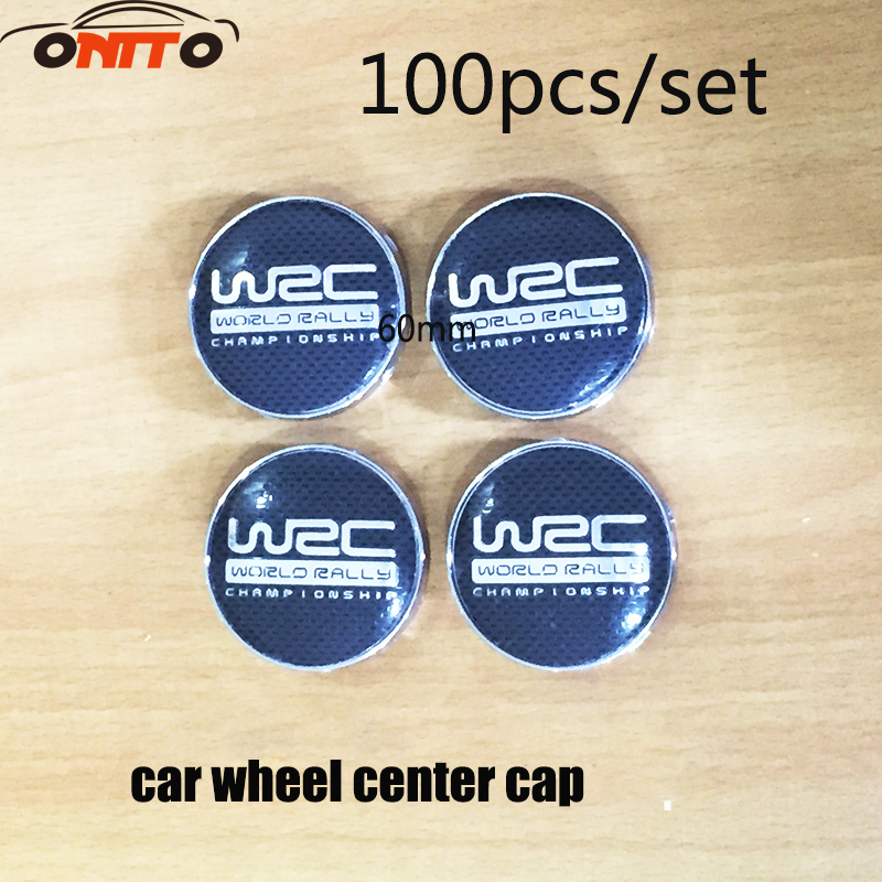 Wholesale 100PCS/set 60mm Wheel Center Hub Caps Dust proof Badge logo covers WRC Black Lattice Wheel Emblem car styling