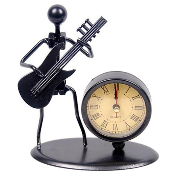 HOT-Retro Musician of Electric <font><b>Guitar</b></font> Model with Roman Numeral Clock Artware Black