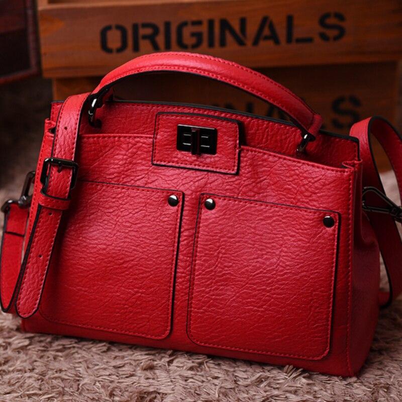 ФОТО European Style Split Leather Shoulder Bags Fashion Women Handbags Solid Color Women's Messenger Bags Vintage Lady Shopping Bag