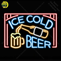 Ice cold Beer Neon Sign Neon Bulbs sign Iconic Beer Bar Club light Lamps Sign display advertise Letrero Neon enseigne lumine