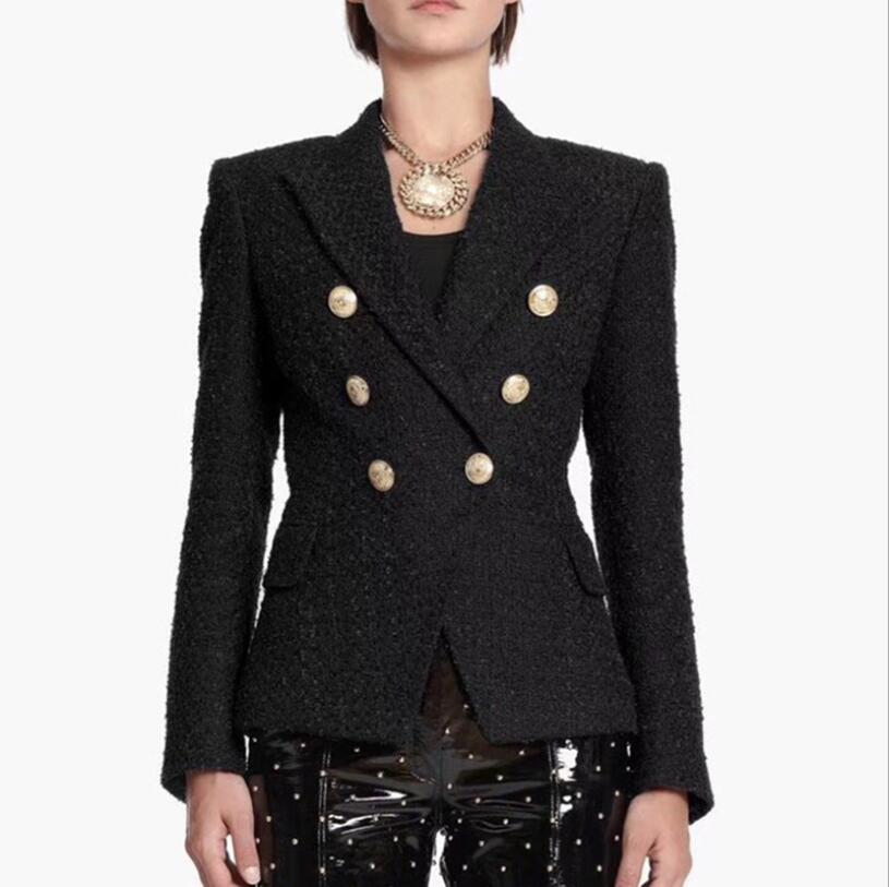 Black Color Women's Long Sleeve Double Breasted Slim Fashion Jacket Office Lady Fashion Coat Spring Style Top Quality