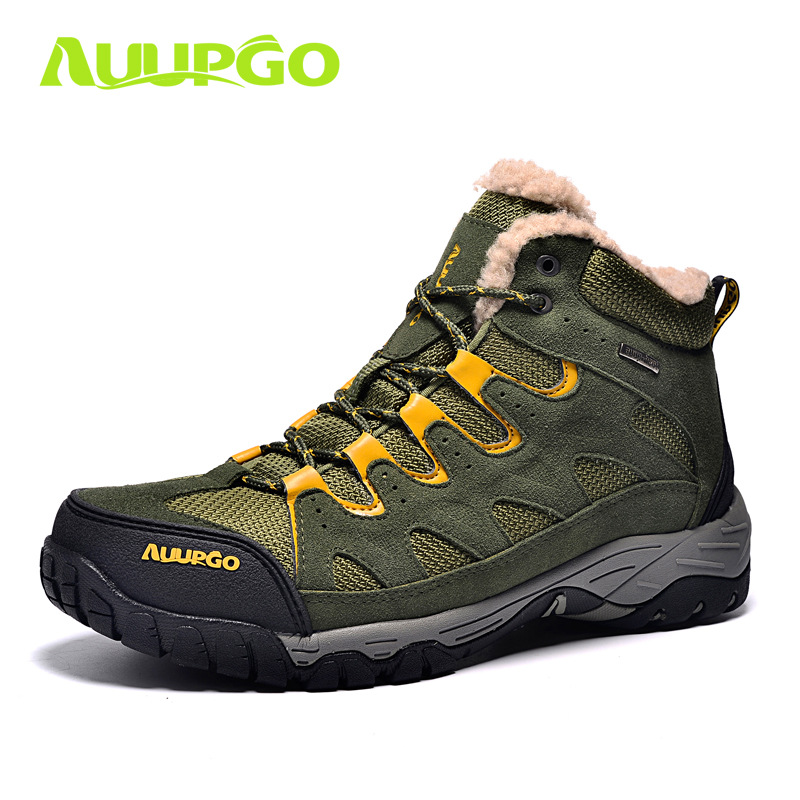 ФОТО Autumn And Winter Snow Boots Go Hiking Shoes Men's Shoes And Cashmere Thermal Cold Waterproof Ski Shoes