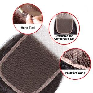 Image 5 - 甘い毛ブラジル毛束ストレート閉鎖 100% 人毛 3 バンドルでレースクロージャー無料部分と非レミー髪