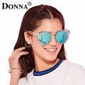 Donna Marco de Gran Tamaño gafas de Sol Polarizadas Mujeres Espejo Redondo de Oro Rosa Plana Espejo Lente Gafas de Sol Mujer Color de Moda HD D30