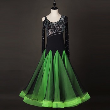 2018 Hot Sale Ballroom Dance Dress For Women/Female Green Strapless Clothing For Dance Plus Size Latin Foxtrot Dance Dress