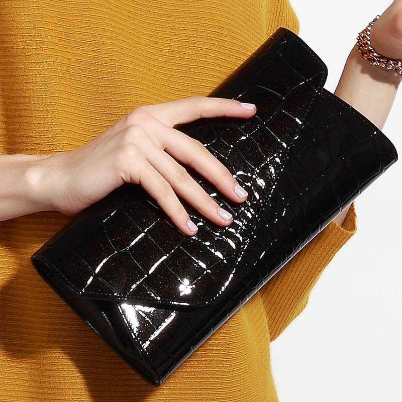 Creative Alligator Textured Genuine Leather Clutches Wallet Solid Color Top Leather Hasp Fashion Women Shoulder Crossbody Bags