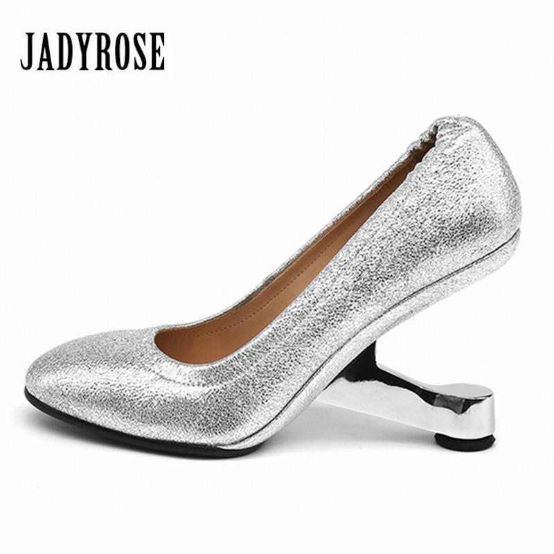 Jady Rose Silver Women Pumps Strange High Heels Slip On Genuine Leather Gladiator Stiletto Wedding Shoes Woman Valentine Shoes strange heel women ankle boots genuine leather elastic booties wedge shoes woman high heels slip on women platform pumps