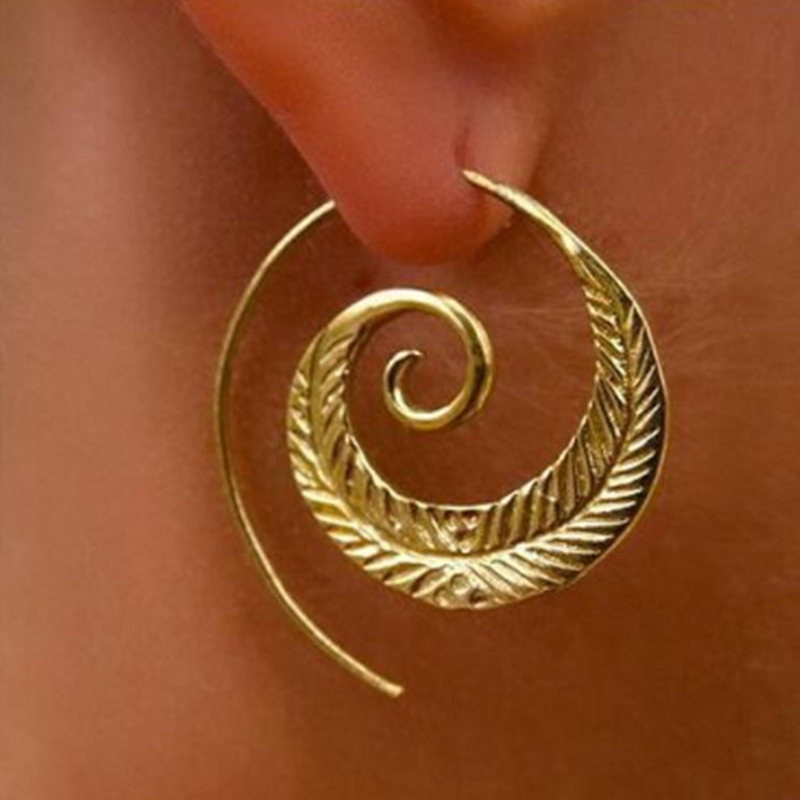 E0446 Simple Spiral Hook Earrings For Women Gold Color Exaggerated Circle Leaf Whirlpool ...