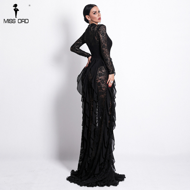Sexy Long Sleeve Hollow Out Lace Dresses Female Elegant See Through Party Bodycon Dress 4