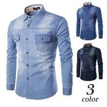 Moda para hombre camisa de mezclilla de manga larga más tamaño de algodón Jeans cárdigan Casual Camisas Slim Fit hombres dos bolsillos Tops ropa M-6XL
