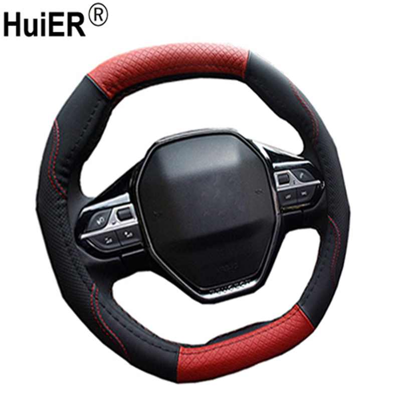 HuiER Oval Shape Car Steering Wheel Cover Fashion High Leather For Peugeot 4008 Peugeot 5008 Auto