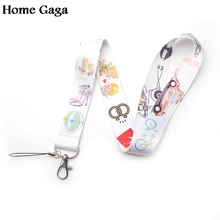 Homegaga wedding theme keychain lanyard webbing ribbon neck strap fabric para id badge phone holders necklace accessories D1774