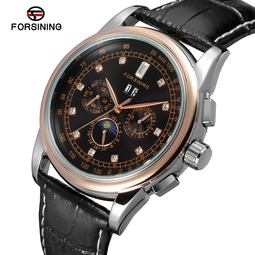 FSG319M3T6 Forsining Automatic self-wind dress fashion wrist watch with moon phase for men watch with complete calendar gift boxFSG319M3T6 Forsining Automatic self-wind dress fashion wrist watch with moon phase for men watch with complete calendar gift box