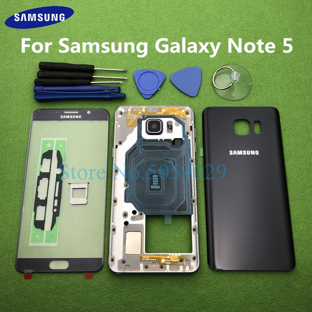 For Samsung Galaxy Note 5 N920 N920F Full Housing Rear Case Bezel Middle Frame Back Cover + Front Glass Lens Tools Sticker