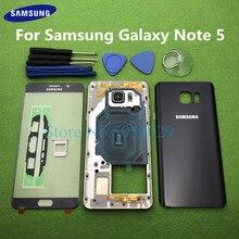 Para samsung galaxy note 5 n920 n920f completo habitação caso traseiro moldura do meio moldura traseira capa + frente lente de vidro ferramentas adesivo