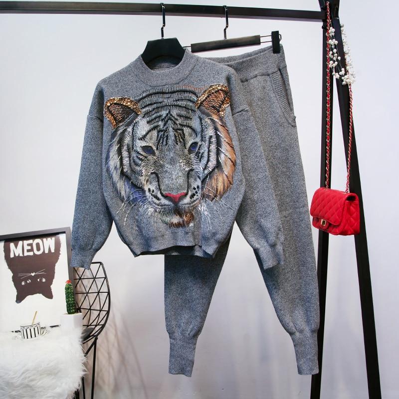 Lâche Nouvelles gris Chandail Deux Automne Vêtements Tigre Pièces Femmes Pull Tête Pantalon Tricoté Perles De Mode Hiver 2018 Ensemble Noir q7wHdvq