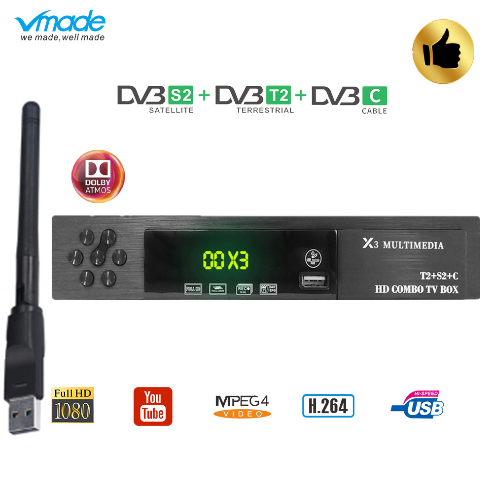 Vmade DVB-T2 S2 C combo Satellite TV receiver Support Cccam Newcamd Mgcamd  Powervu Key TV tuner with USB Wi-Fi Cable TV decoder