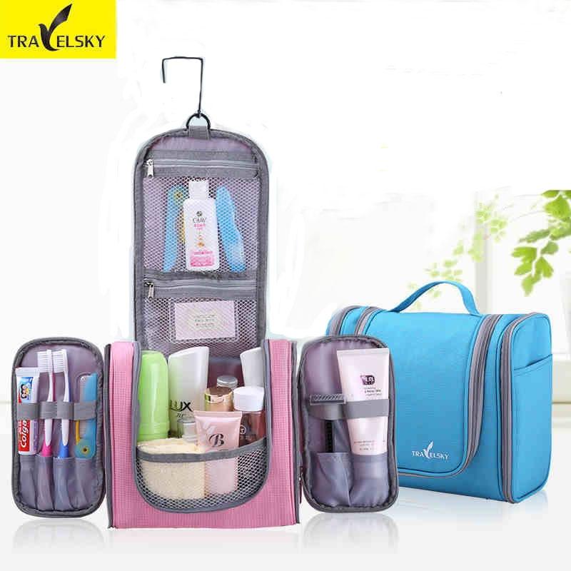 TRAVELSKY Makeup Bag Wanita & Lelaki Kapasiti Besar Beg Basuh Travel Toilet Mengantung Kalis Air Ladies Case Kosmetik 13549