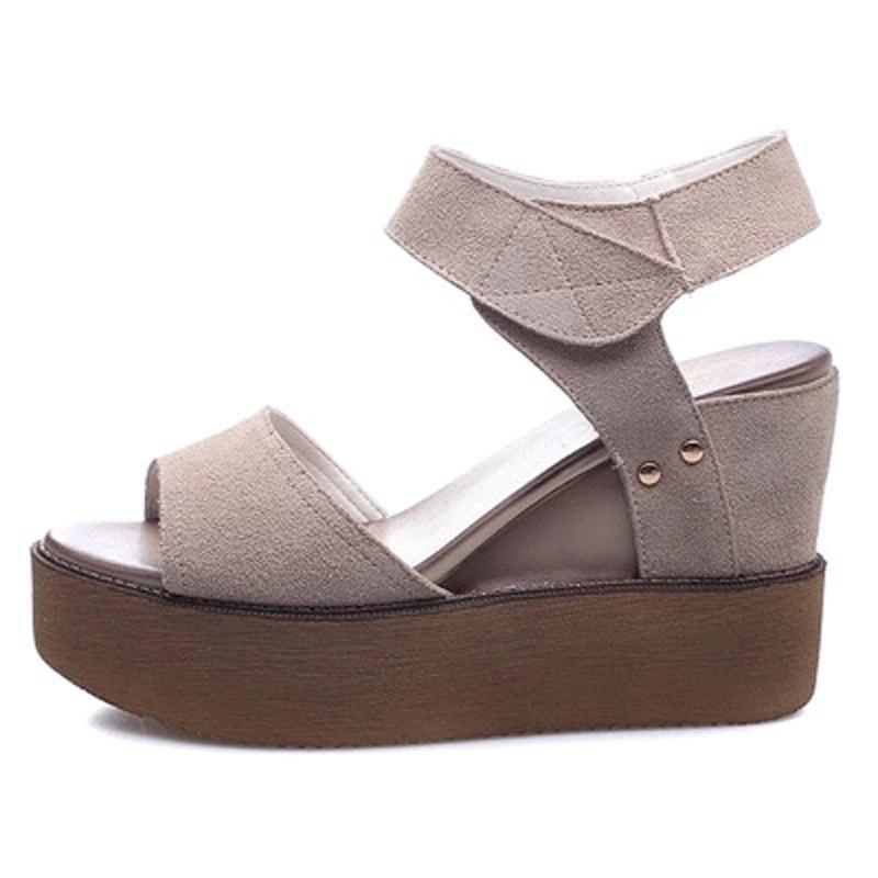 ФОТО 2017 New Summer Brand Women Peep Toe Shoe Genuine Leather Hollow For Lady Fashion Mid Heel Casual Sandal Platform Leisure Black