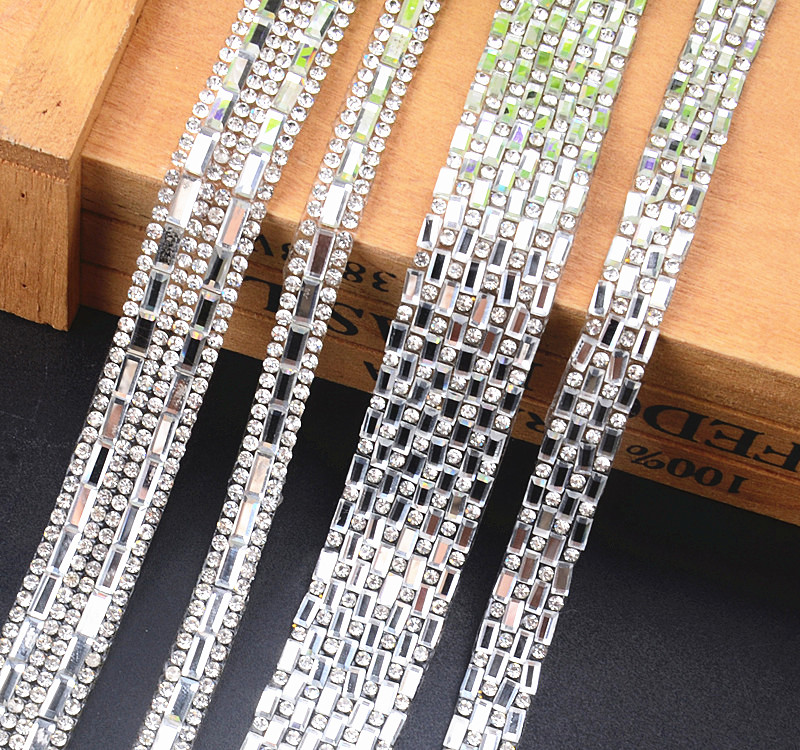 Detail Feedback Questions about 2Yard rectangle Clear Glass Hotfix  Rhinestones Chain Trim Strass Crystal Banding Mesh Bridal Crystal Appliques  For Wedding ... d449a37a7375