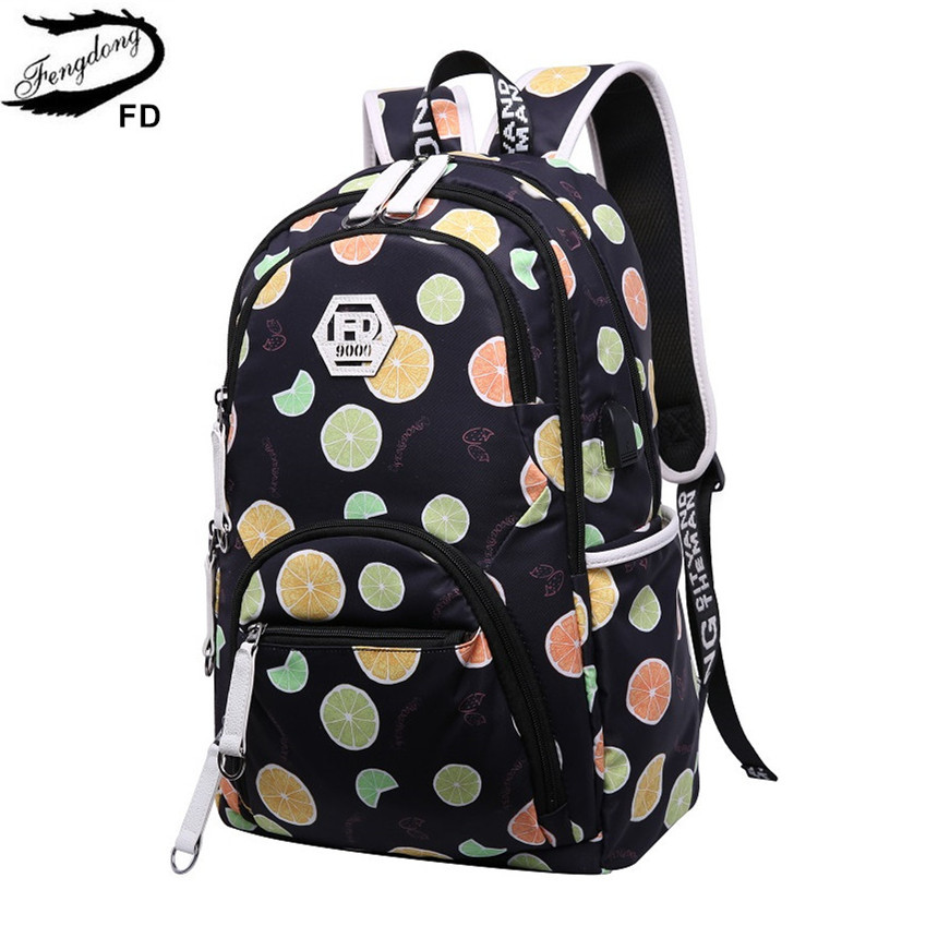 все цены на Fengdong cute kids' backpack child bag waterproof fruit printing backpack for children school bags for teenage girls schoolbag онлайн