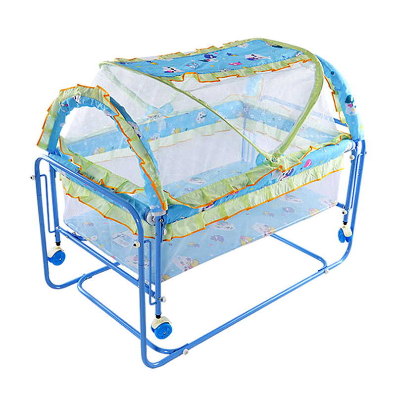 Portable Baby Metal Crib Bed Cot Baby Protection Newborn Rocking Crib Trolley with Netting Playpen Crib for Baby Rocker Game Bed