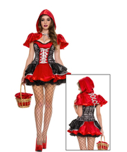 Sexy Little Red Riding Hood Short Sleeve Ruffles Dress Ruched Above Knee Red Black Dress Women Queen Cosplay Costume BI68
