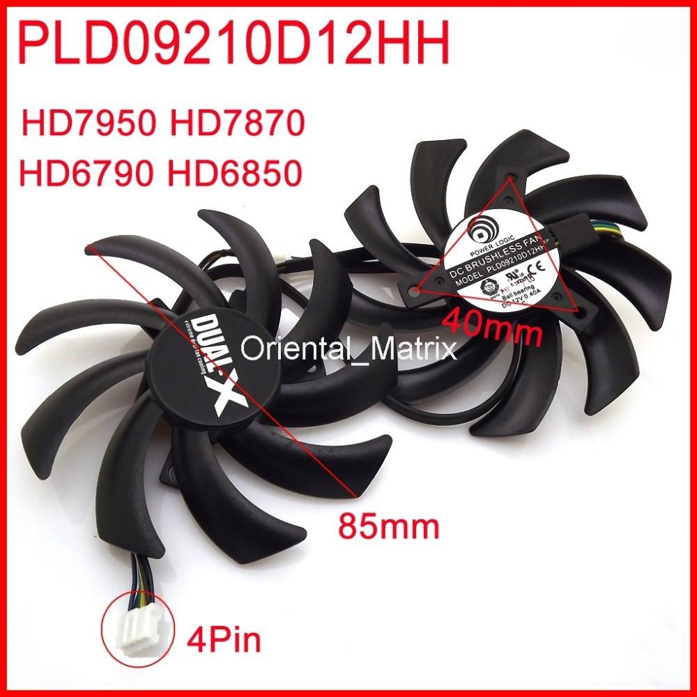 2pcs/lot POWER LOGIC PLD09210D12HH 85mm 4Pin For Sapphire HD7950 HD7870 HD6790 HD6850 Graphics Card Cooling Fan 4Pin