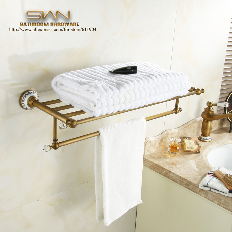Brass Bathroom Bath Towel Rack Bar Towel Shelf  Antique Brass Pattern Ceramic Chinese Style 3611801 whole brass blackend antique ceramic bath towel rack bathroom towel shelf bathroom towel holder antique black double towel shelf