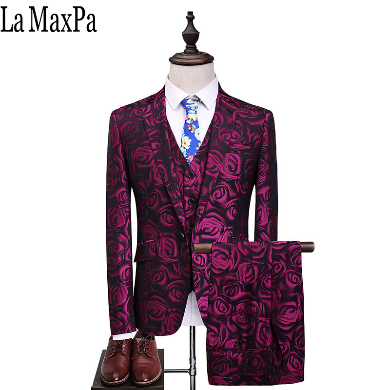 La MaxPa (jacket+pants+vest)2017 Fashion men suit spring autumn suits casual slim fit prom party man wedding red suit dress