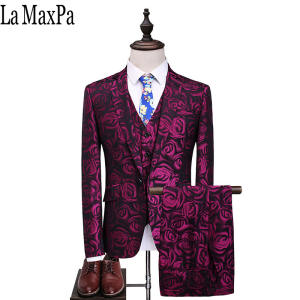 La MaxPa men suit slim fit party man wedding red dress