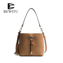 BEWITU Tassel Bucket Bags for Women 2017 Brown Shoulder Bag PU Leather Drawstring Crossbody Bags Medium Capacity
