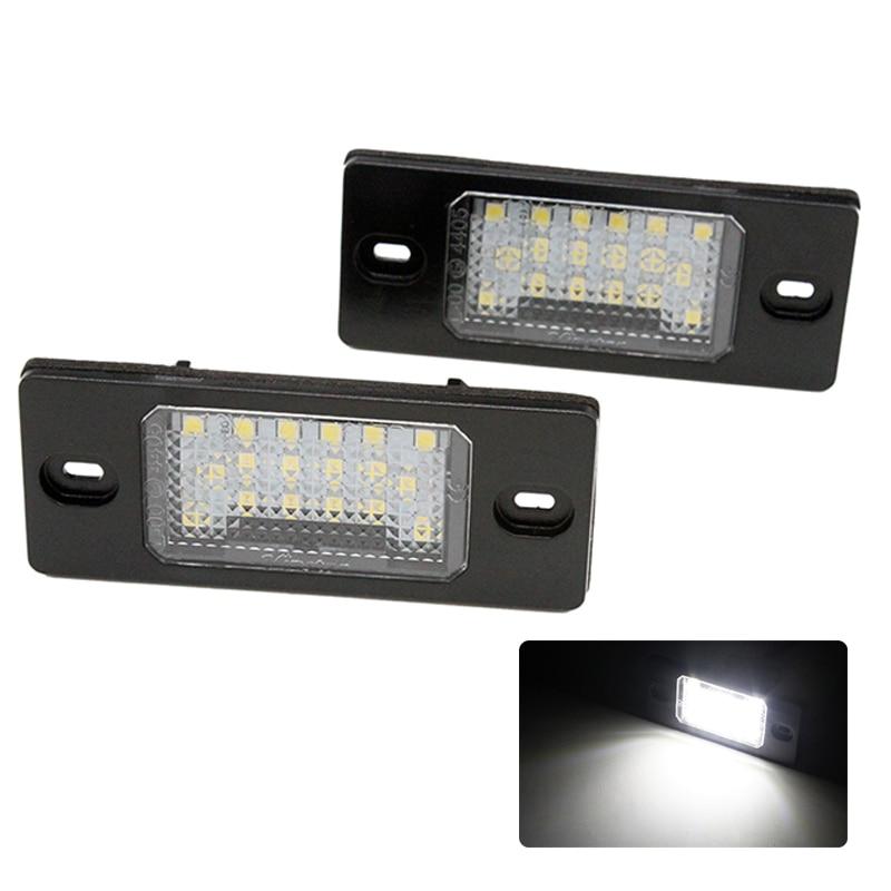 2 pçs/set HAUSNN 18SMD Canbus Livre de Erros Branco Número LED License Plate Luzes Para VW Touareg Tiguan Golf Passat 5 b5