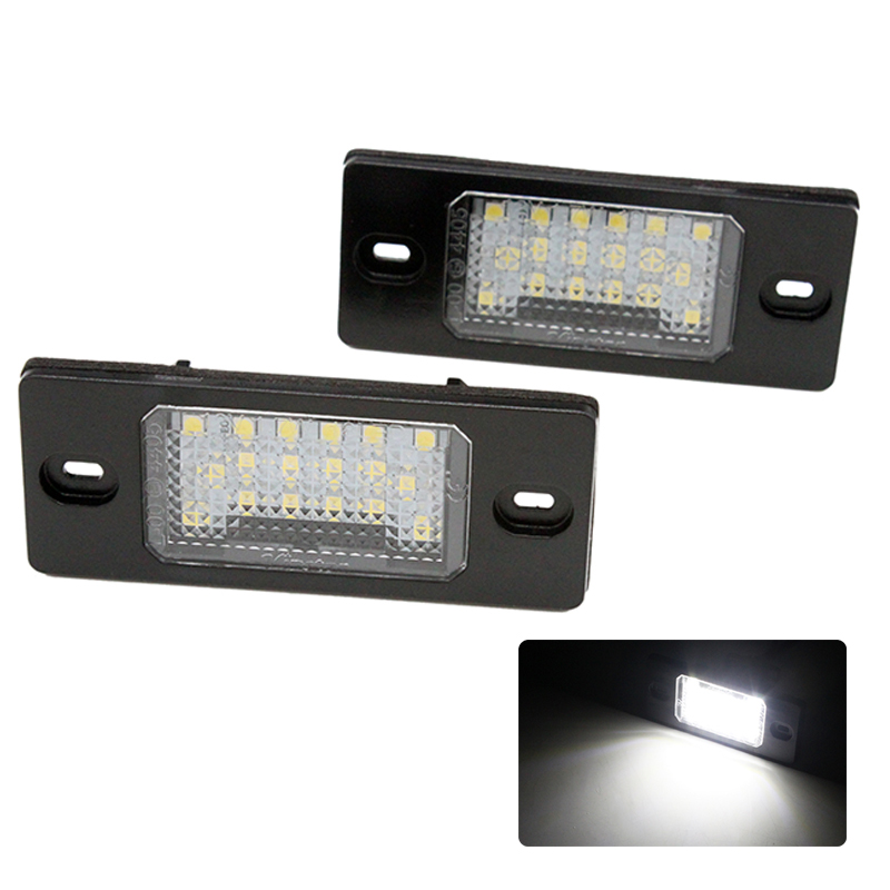 2Pcs/Set HAUSNN Canbus Error Free White 18SMD <font><b>LED</b></font> Number License Plate <font><b>Lights</b></font> For VW Touareg Tiguan <font><b>Golf</b></font> <font><b>5</b></font> Passat B5 image