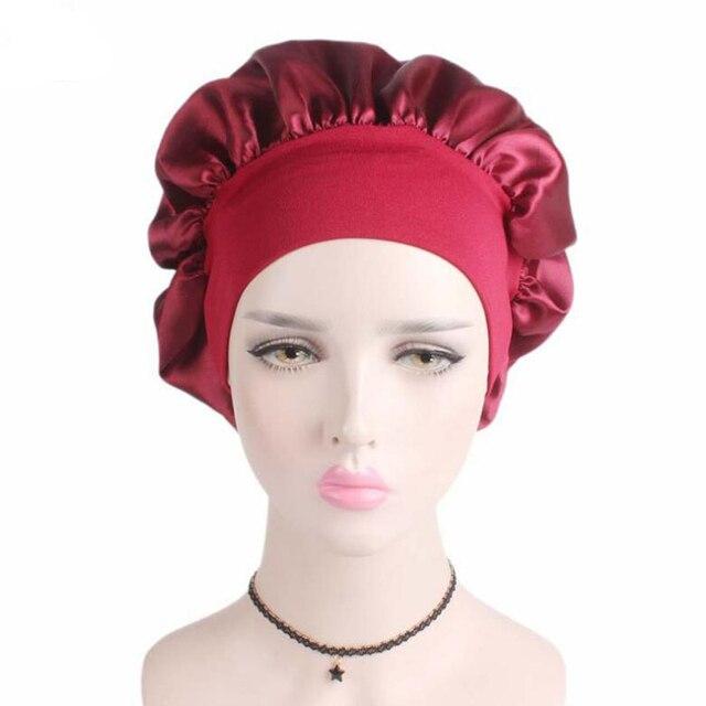 54422bc7f3c 2018 New Wide Band Satin silk Bonnet Cap Comfortable Night Sleeping Hats  Shower Caps Bandana Hair