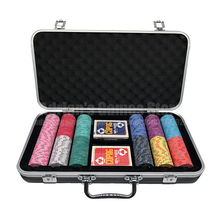 300 Pieces Poker Chips Set With 2 Decks of Plastic Playing Poker Cards & Suitcase 300pcs EPT Ceramic Poker Chips
