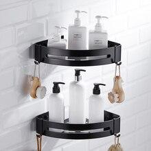 Настенный органайзер для хранения, держатель для стойки, алюминиевая угловая корзина для душа, шампунь, мыло, косметические полки, черная полка для ванной комнаты