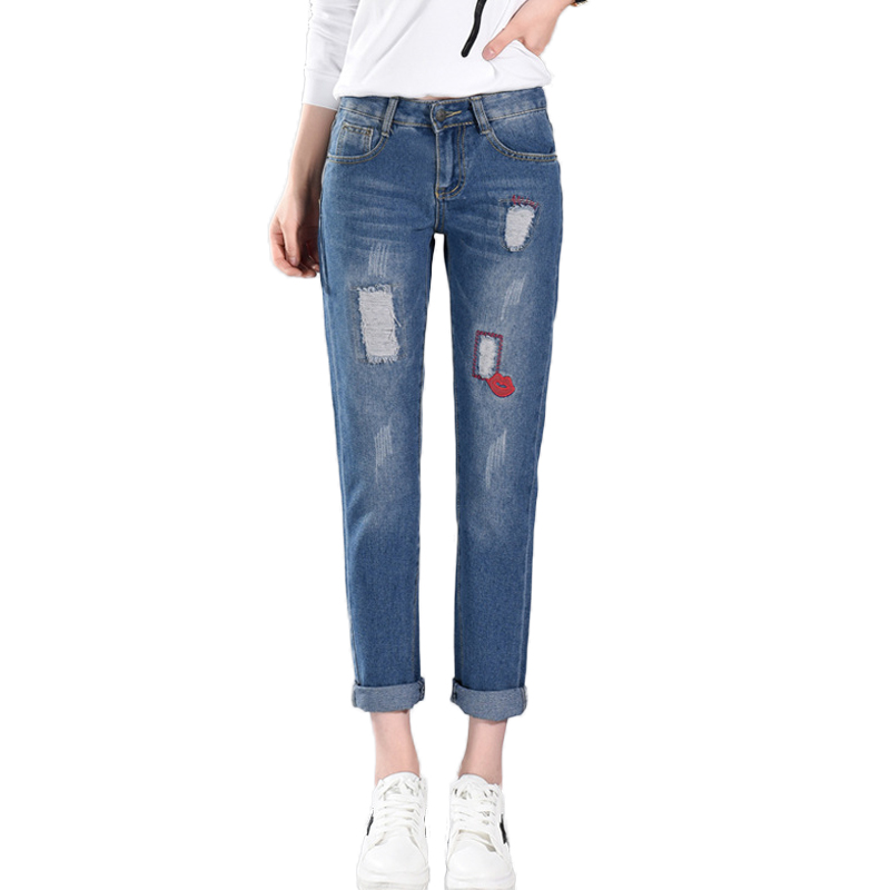 2017 Autumn Fashion Lips Embroidery Jeans Woman Mid Waist Hole Ripped Boyfriend Jeans Femme Cotton Denim Nine Cents Trousers ripped skinny jeans woman autumn fashion mid waist elasticity plus size denim trousers full length pants jeans femme