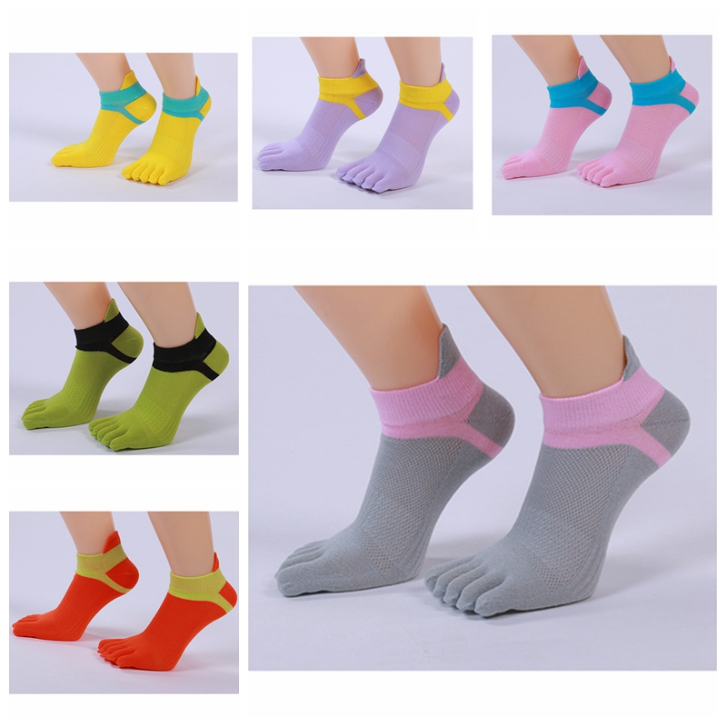 1 Pair Women Cotton Five Finger Toe Multi-color Casual Ankle Breathable Comfortable Socks Summer Hot YLM9824
