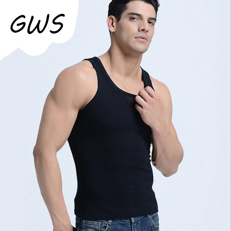 Cotton Mens Bodybuilding Fitness Sleeveless Tank Top Muscle Vest Cotton Stretchy Undershirts O-Neck Gymclothing Sweaty Shirt